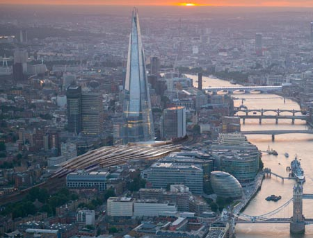 Aerial view of Tower Bridge at sunset, London